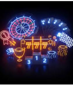 Spilleautomathjul, 777, chips, roulettehjul, kort. Neonbelysning